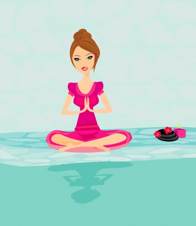 Yoga girl in lotus position  Vector
