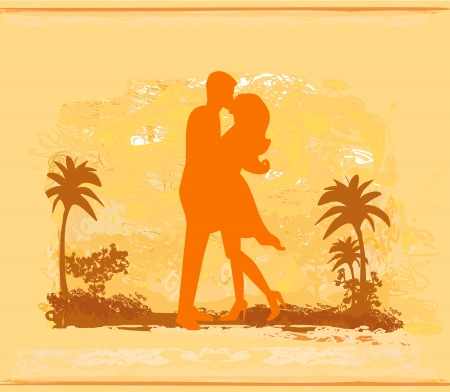silhouette couple kissing on tropical beach  Vector