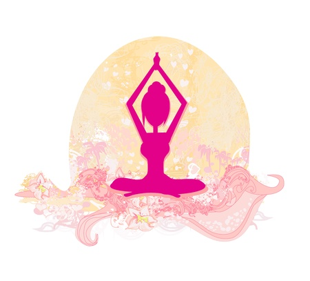 Silhouette of a Girl in Yoga pose  Vector