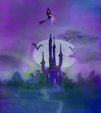 Witch flying on a broom in moonlight   photo