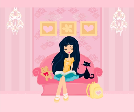 cute teen girl: Teen girl Reading A Book