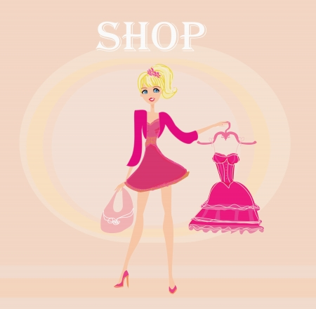 beautiful women Shopping  Stock Vector - 14597782