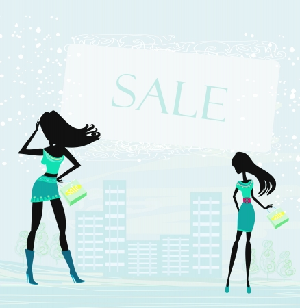shoptalk:  fashion silhouettes girls Shopping in the city