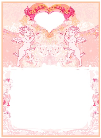 happy valentines day card with cupid  Stock Vector - 14597828