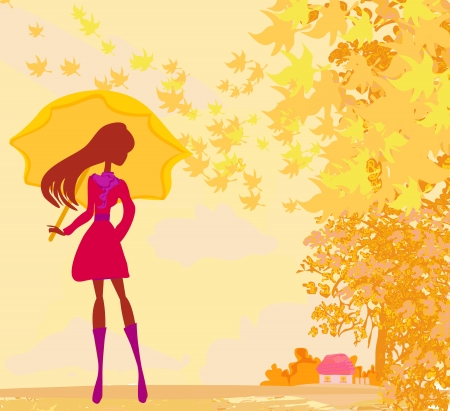 young leaf:  stylish woman with umbrella