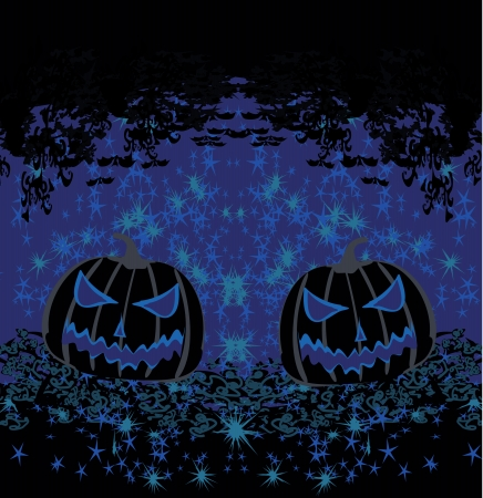 broken halloween pumpkin on grunge background  Illustration