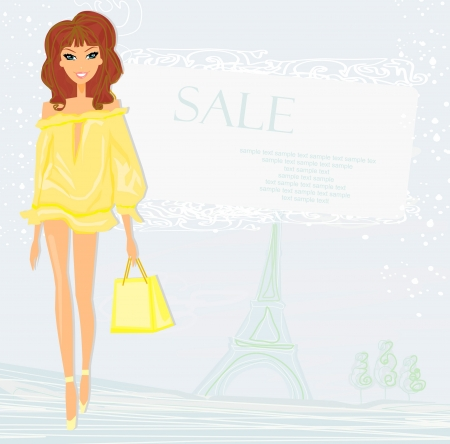 beautiful women Shopping in Paris Stock Vector - 14597812