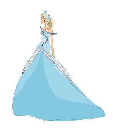 evening gown:  Beautiful princess - doodle