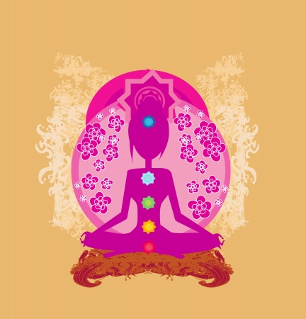 yogi aura:  Yoga lotus pose. Padmasana with colored chakra points.  Illustration