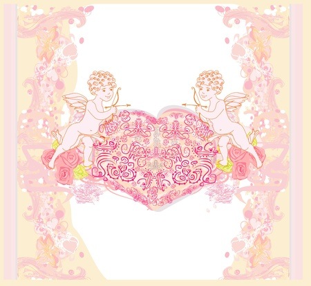 happy valentines day card with cupid  Stock Vector - 14658537