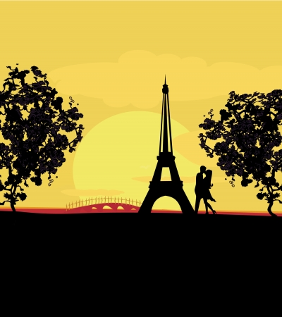 Romantic couple in Paris kissing near the Eiffel Tower Retro cart  Vector