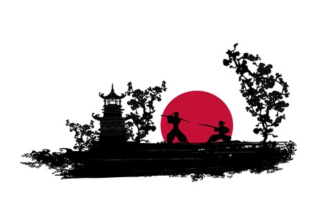 chinese pagoda: Japanese Samurai fighter silhouette
