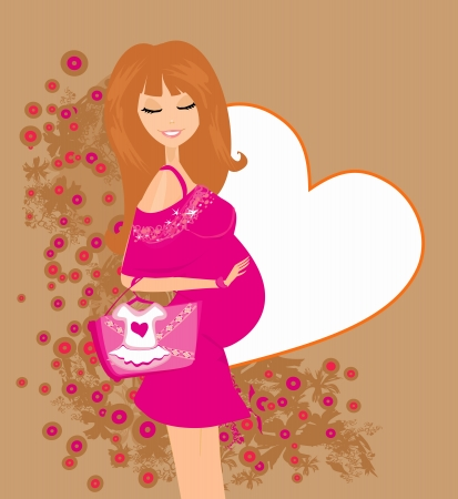 Beautiful pregnant woman on shopping for her new baby Vector  Vector