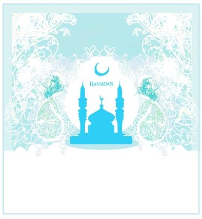 Ramadan background - mosque silhouette vector card  Vector