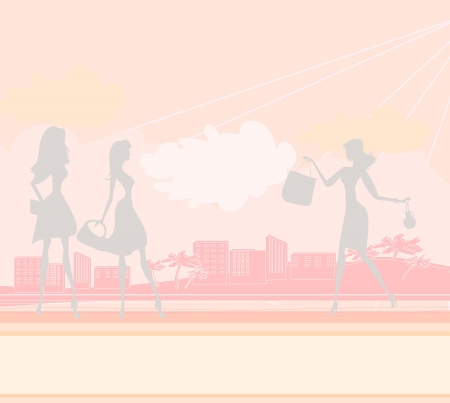 fashion silhouettes girls Shopping in the city  Vector