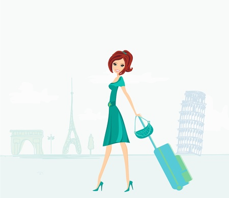 beautiful women Shopping in France and Italy  Stock Vector - 14658542