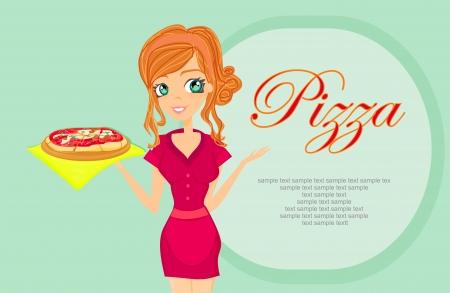 waitresses:  sweet girl serving pizza  Illustration