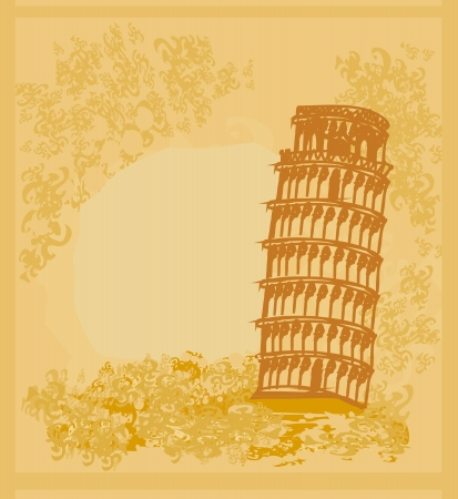 vector pisa tower grunge background  Vector