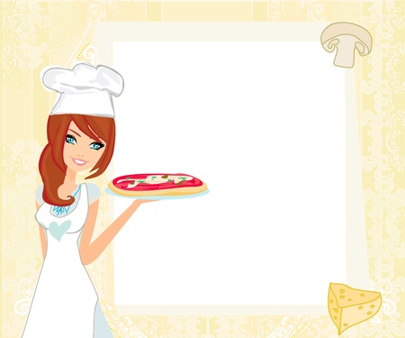 female chef:  beautiful woman serving pizza