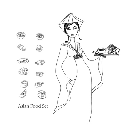 beautiful Asian girl enjoy sushi - doodle illustration  Vector