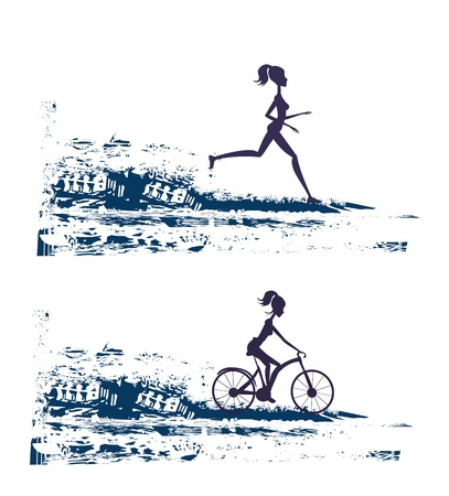 bicycler: silhouette of marathon runner and cyclist race - abstract background