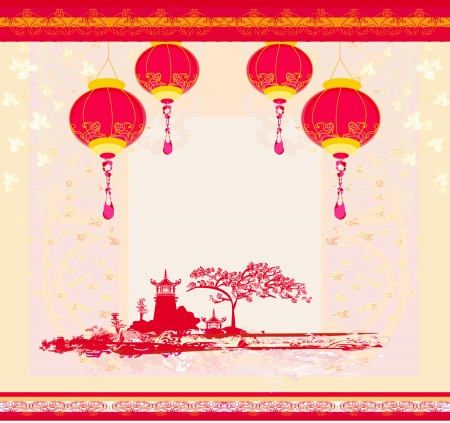 old paper with Asian Landscape and Chinese Lanterns Vector