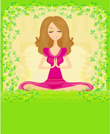 woman in a traditional yoga pose  illustration  Vector