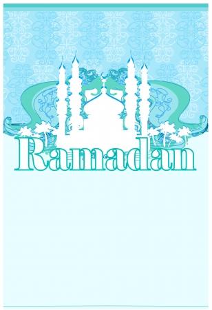Ramadan background - mosque silhouette illustration card  Stock Vector - 14812229