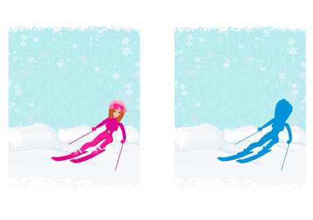 down under:  illustration of a young woman skiing down a snow covered mountain under a clear blue sunny sky  Illustration