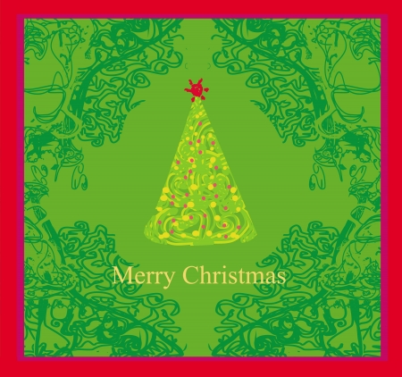 Abstract christmas tree card  Stock Vector - 14812252