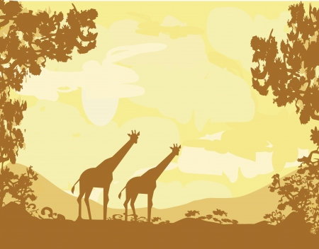grunge background with African fauna and flora Stock Vector - 14812251