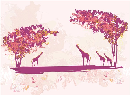 tasmania:  grunge background with African fauna and flora