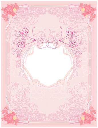 siluetas:  happy valentines day card with cupid