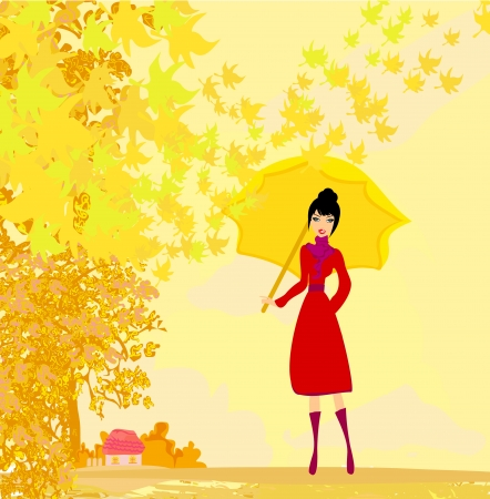 forsythia:  stylish woman with umbrella