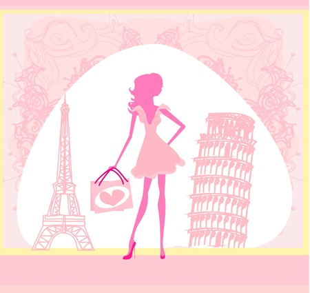 french style:  beautiful women Shopping in France and Italy  Illustration