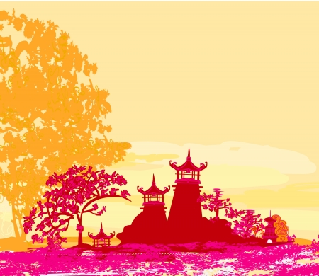 old paper with Asian Landscape  Stock Vector - 15197908