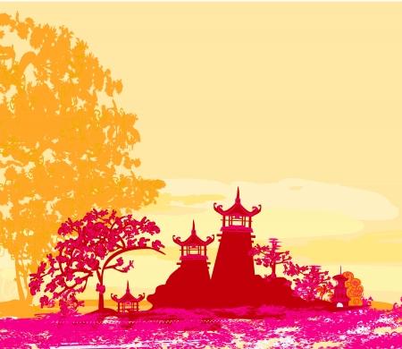 pagoda: papel viejo con paisaje asi�tico