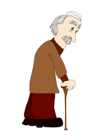 pensioner:  The old man on a white background Illustration