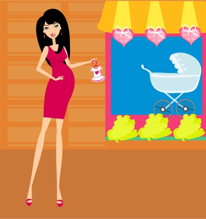 pregnancy exercise: beautiful pregnant woman  Illustration
