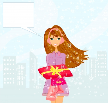 hoarfrost:  fashion shopping girl with shopping bags and gift box