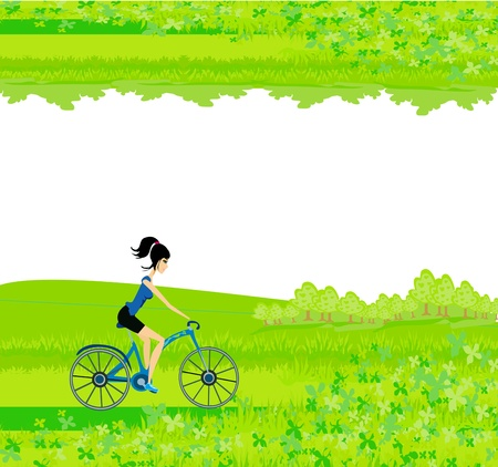 Cycling Poster with silhouette Girl - abstract frame Vector