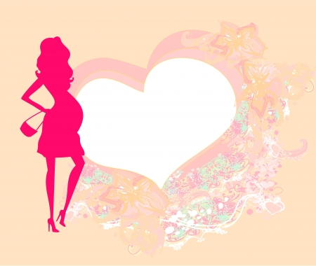 Beautiful pregnant woman on shopping for her new baby- abstract  Vector