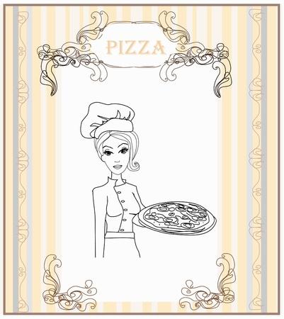 Camarera joven con la pizza garabato