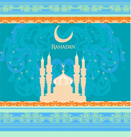 feter:  Ramadan background - mosque silhouette illustration card