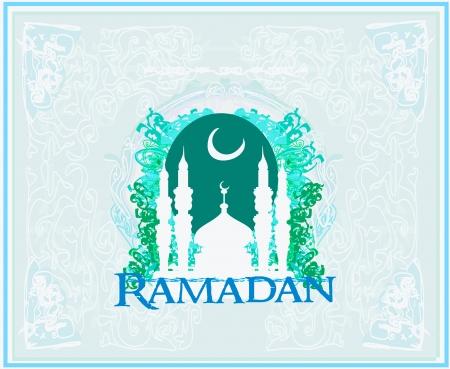 feter:  Ramadan background - mosque silhouette illustration card
