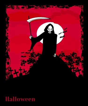 Grim reaper with Halloween sign - vector illustration.  Vector