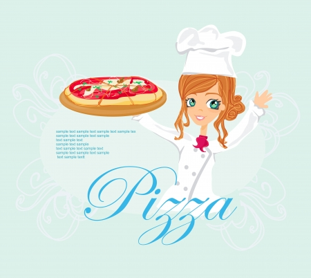 beautiful woman serving pizza  Vector