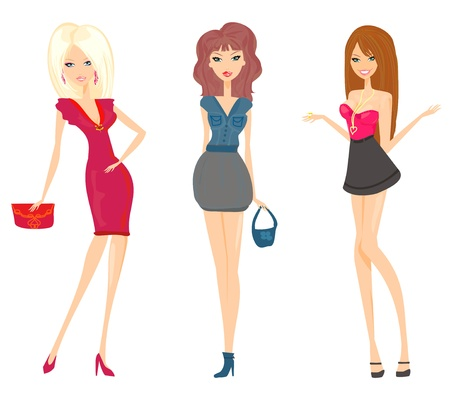 fashion shopping girls set        Ilustrace