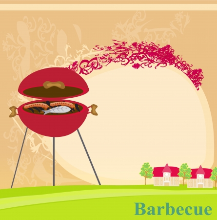 grilled salmon:  Barbecue Party Invitation  Illustration