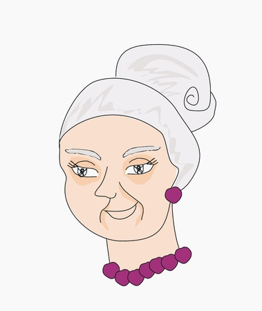 Vector illustration portrait of an old lady Stock Vector - 14960134